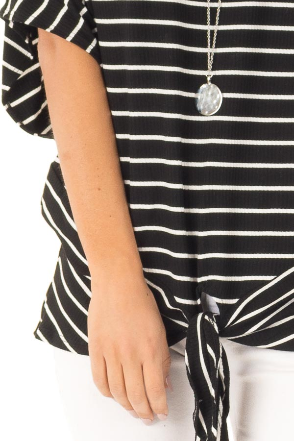 Black and Cream Striped Dolman Off the Shoulder Top detail