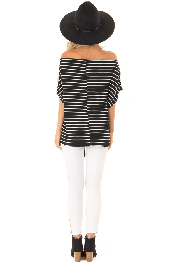Black and Cream Striped Dolman Off the Shoulder Top back full body