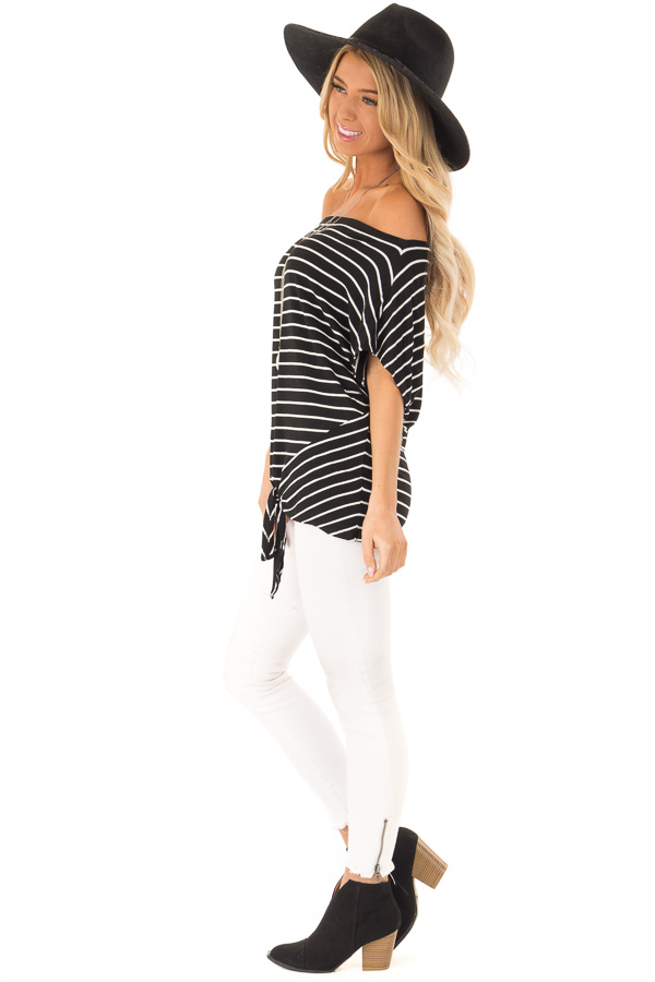 Black and Cream Striped Dolman Off the Shoulder Top side full body