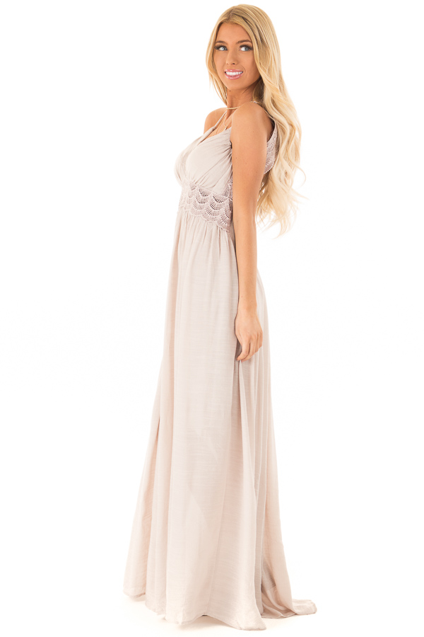 866d63332 Champagne Sleeveless Open Back Maxi Dress with Lace Accents side full body