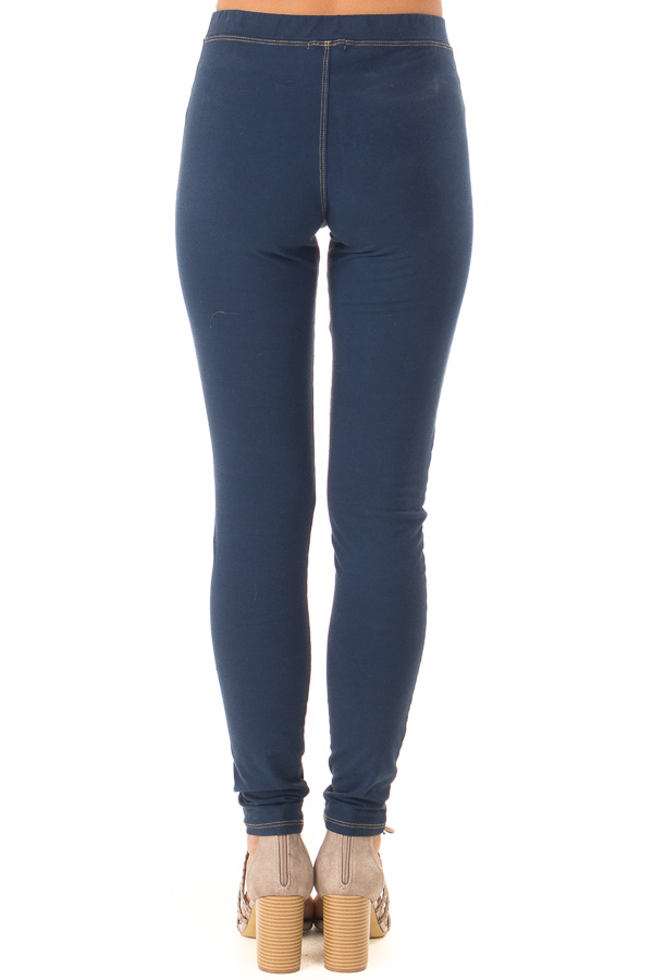 Navy Elastic Waistband Jeggings back view
