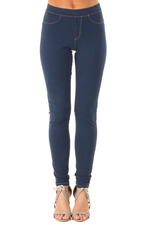Navy Elastic Waistband Jeggings front view