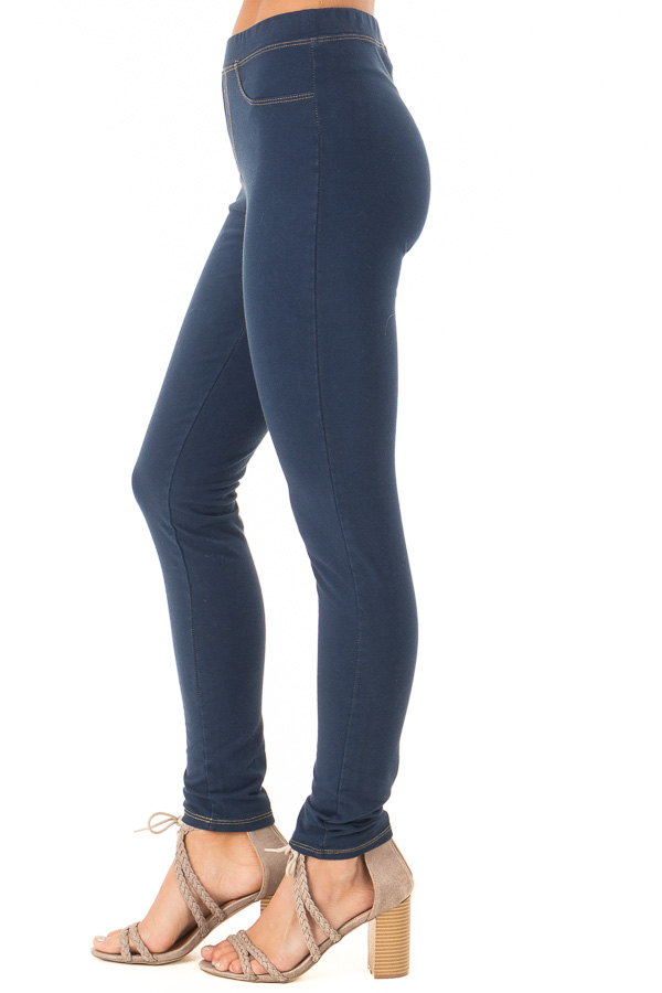 Navy Elastic Waistband Jeggings side view