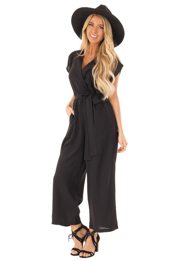 Midnight Black Jumpsuit with Notched Lapel and Front Tie front full body