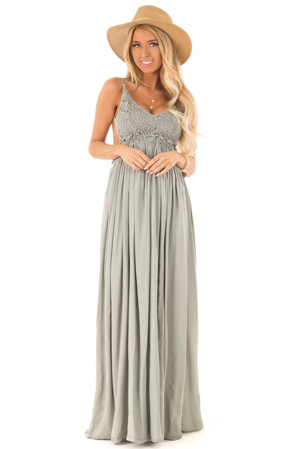Sage Green Backless Maxi Dress with Crochet Bodice Detail front full body
