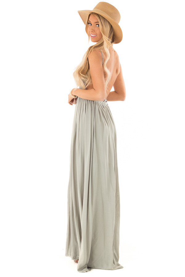 Sage Green Backless Maxi Dress with Crochet Bodice Detail side full body
