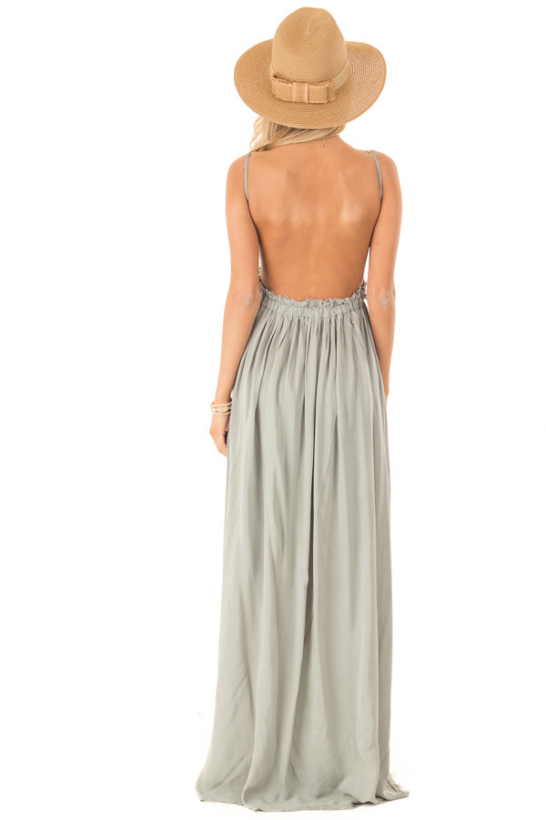 Sage Green Backless Maxi Dress with Crochet Bodice Detail back full body