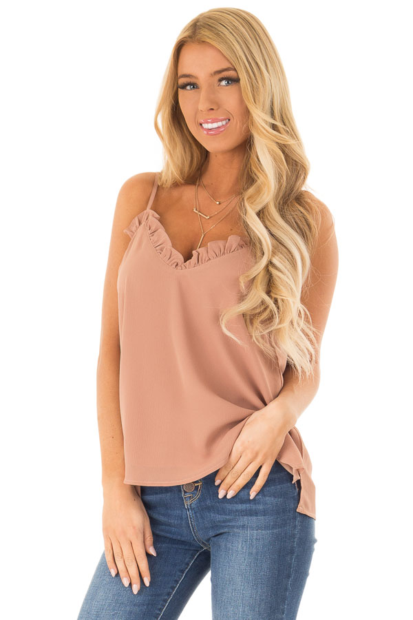 Desert Sand V Neck Tank Top with Ruffle Detail front close up
