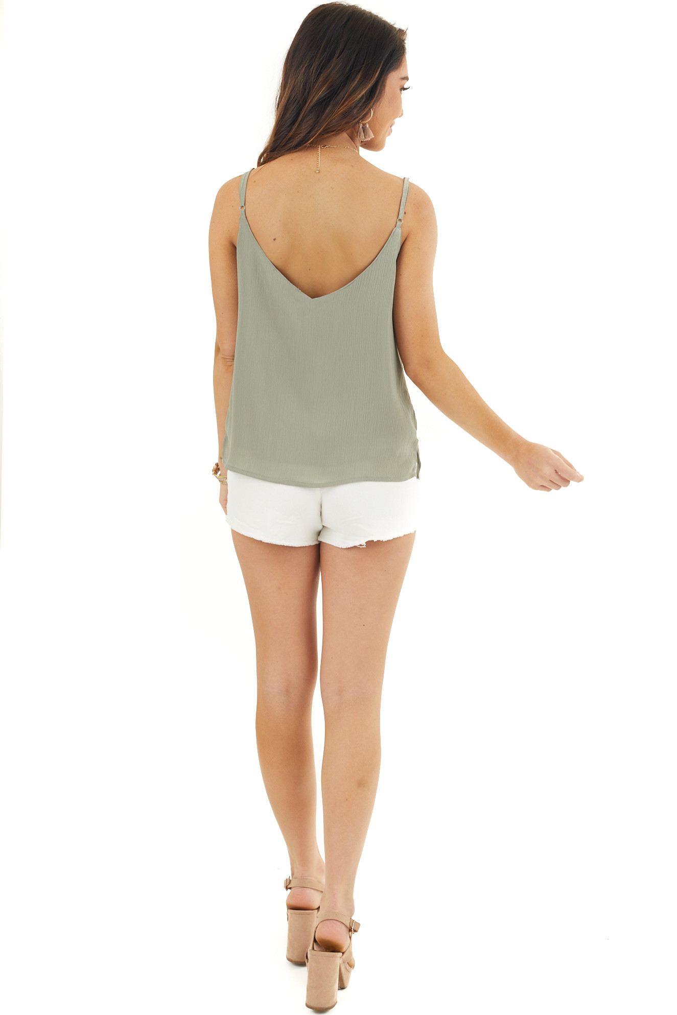 Dusty Sage V Neck Tank Top with Ruffle Detail