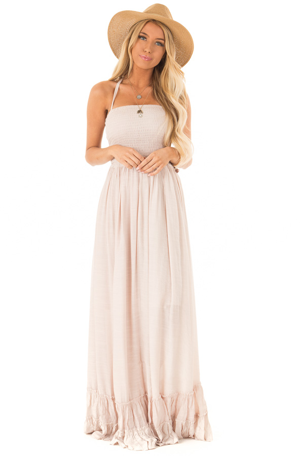 Taupe Woven Halter Maxi Dress front full body