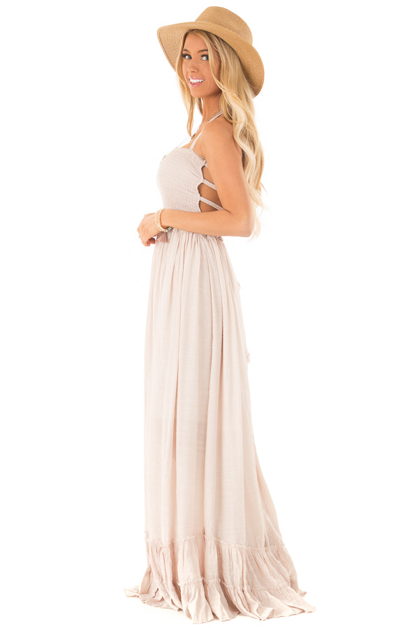 Taupe Woven Halter Maxi Dress side full body