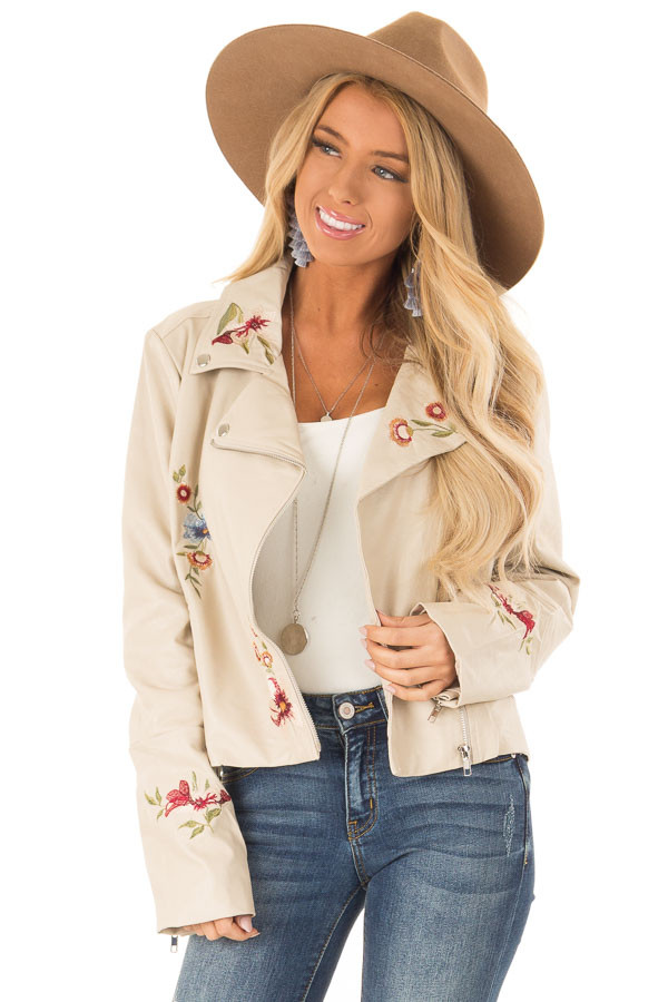Cream Floral Embroidered Faux Leather Moto Jacket front close up