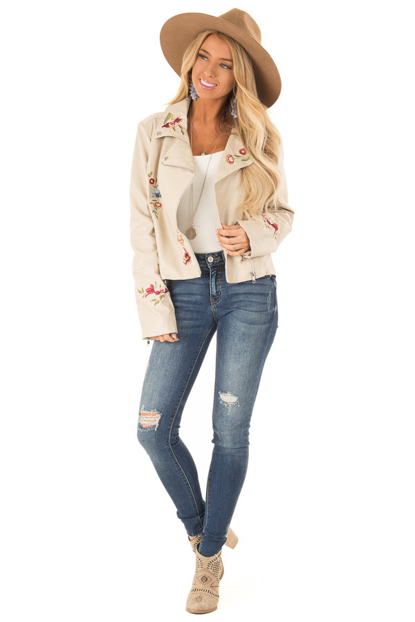 Cream Floral Embroidered Faux Leather Moto Jacket