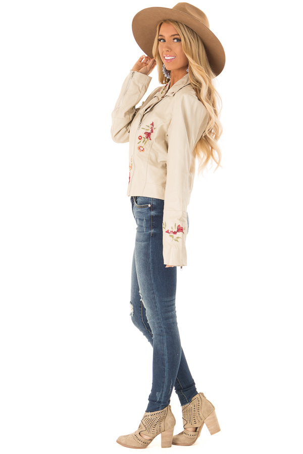 Cream Floral Embroidered Faux Leather Moto Jacket side full body