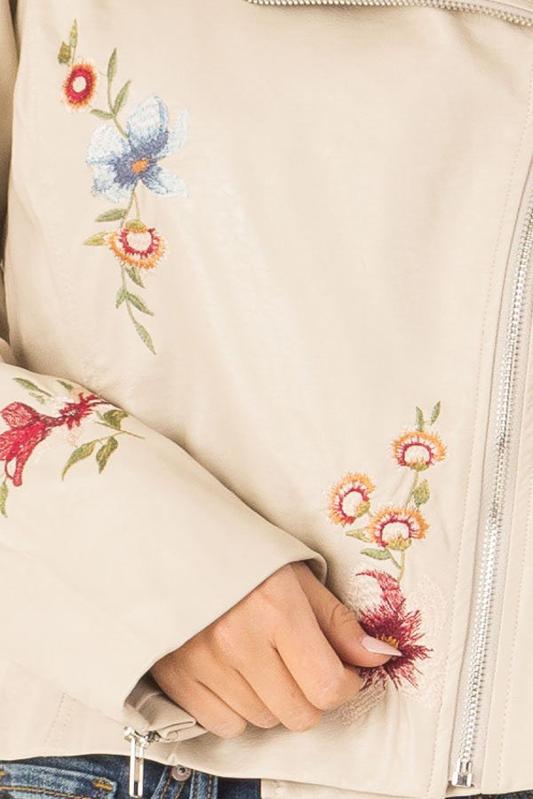 Cream Floral Embroidered Faux Leather Moto Jacket detail