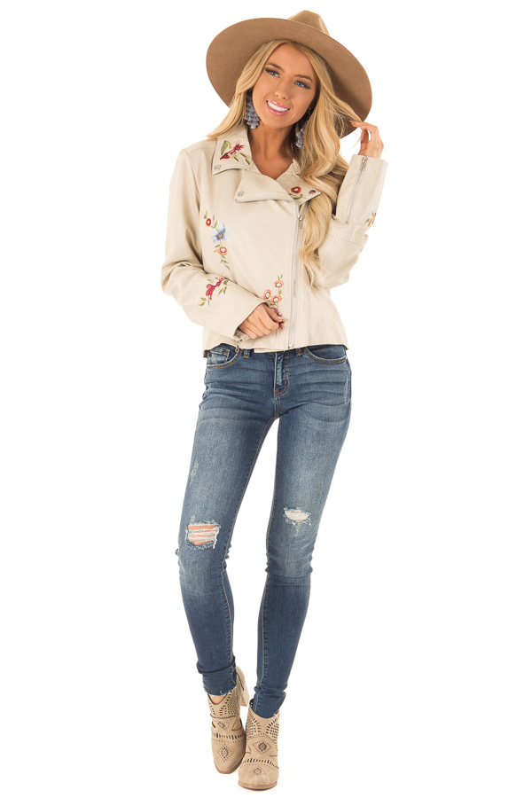 Cream Floral Embroidered Faux Leather Moto Jacket front full body