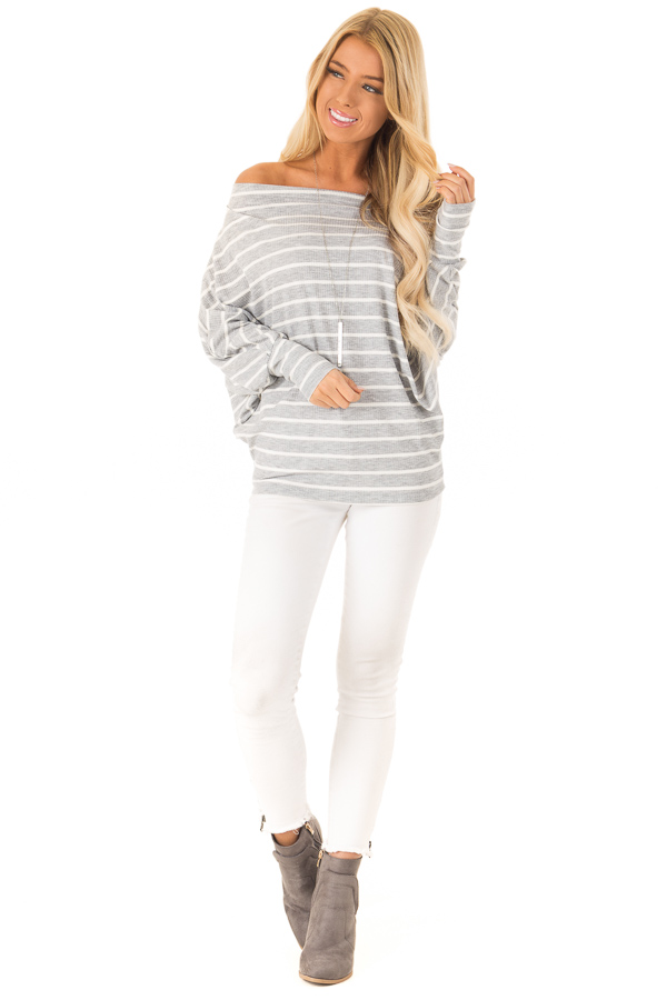 Heather Grey and Ivory Striped Off the Shoulder Top front full body