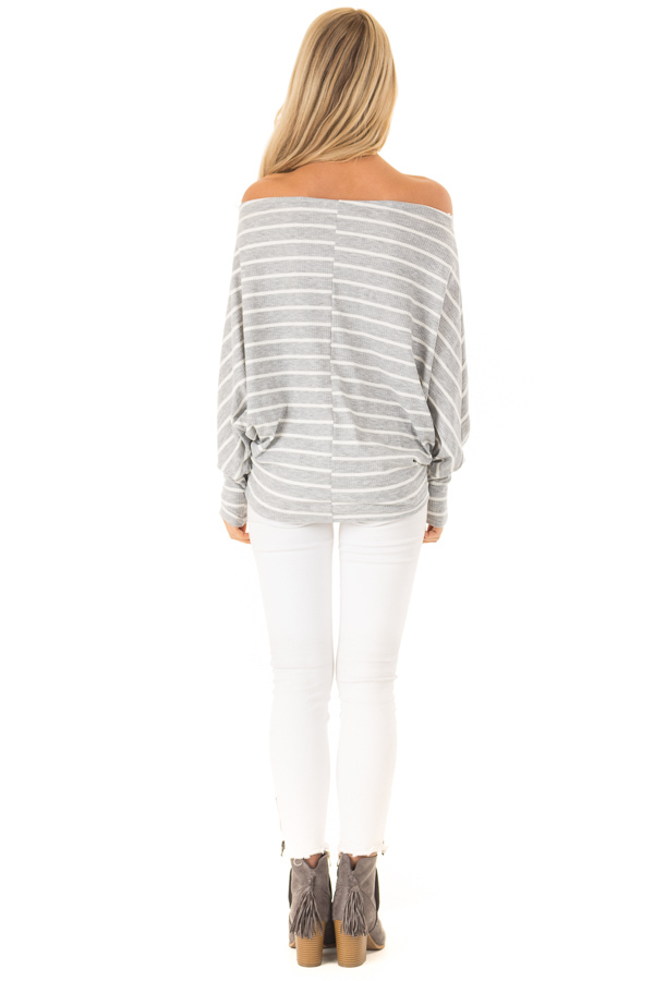 Heather Grey and Ivory Striped Off the Shoulder Top back full body