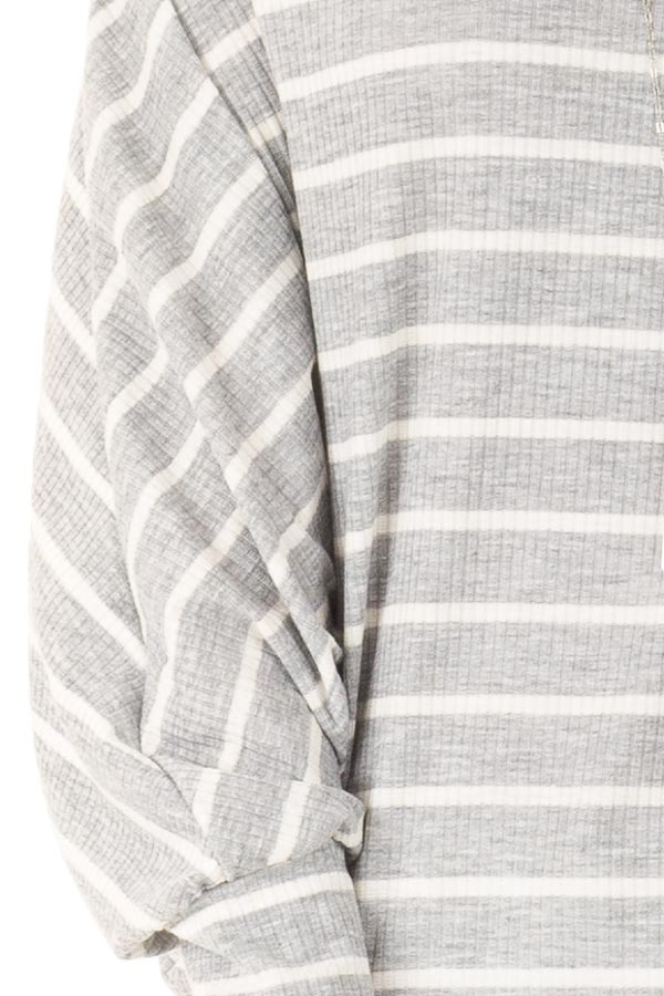 Heather Grey and Ivory Striped Off the Shoulder Top detail