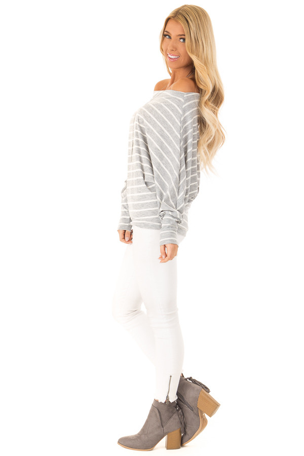 Heather Grey and Ivory Striped Off the Shoulder Top side full body