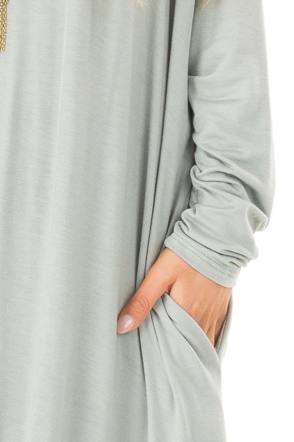 Sage Long Sleeve Maxi Dress with Side Pockets detail
