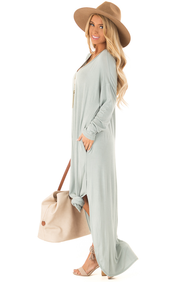 Sage Long Sleeve Maxi Dress with Side Pockets side full body
