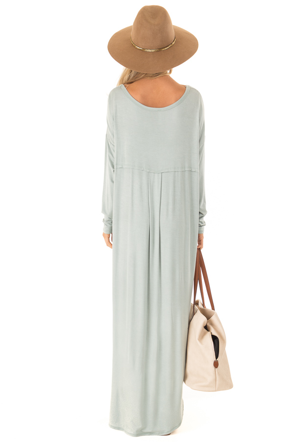 Sage Long Sleeve Maxi Dress with Side Pockets back full body
