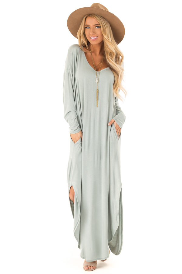 Sage Long Sleeve Maxi Dress with Side Pockets front full body