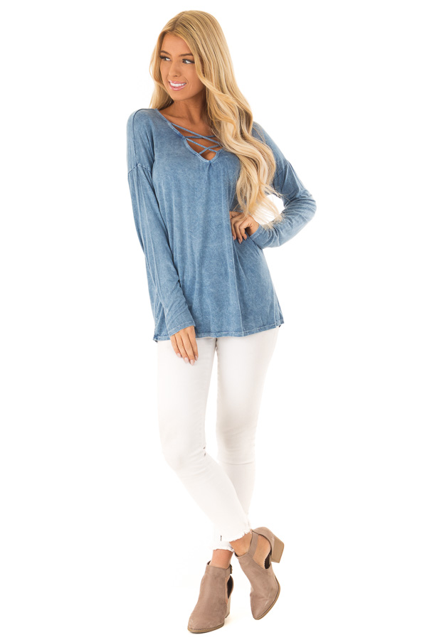 Dusty Blue Mineral Wash Top with Criss Cross Neck front full body