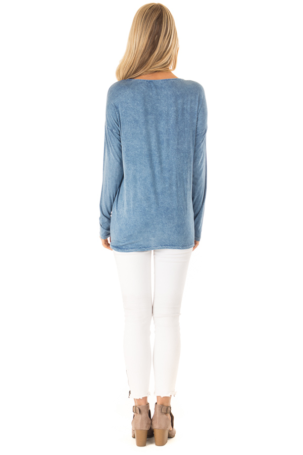 Dusty Blue Mineral Wash Top with Criss Cross Neck back full body