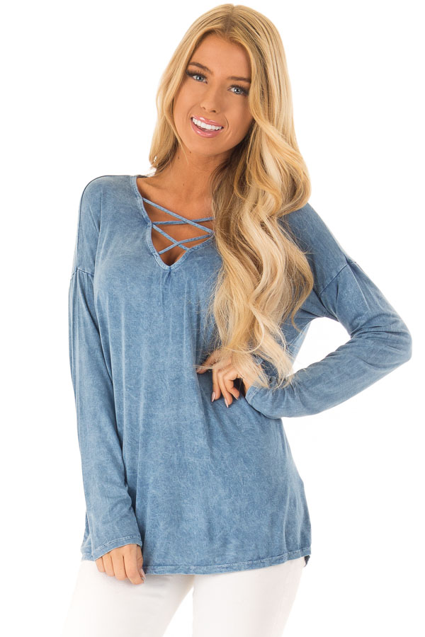 Dusty Blue Mineral Wash Top with Criss Cross Neck - Lime Lush Boutique 6f66d1ac0