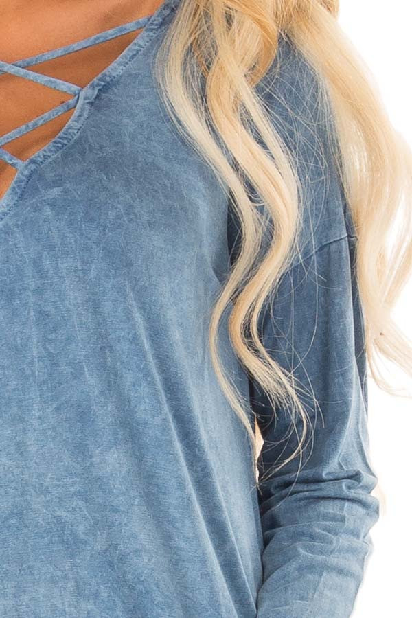 Dusty Blue Mineral Wash Top with Criss Cross Neck detail