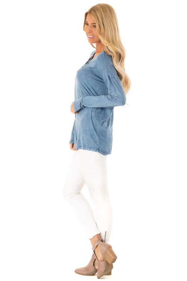 Dusty Blue Mineral Wash Top with Criss Cross Neck side full body