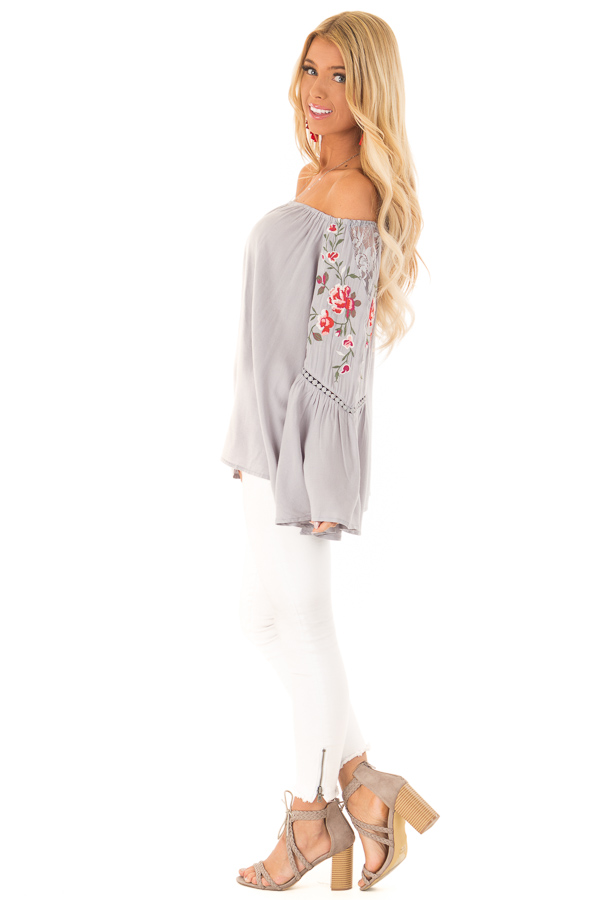 Cool Cement Embroidered Off the Shoulder Top side full body
