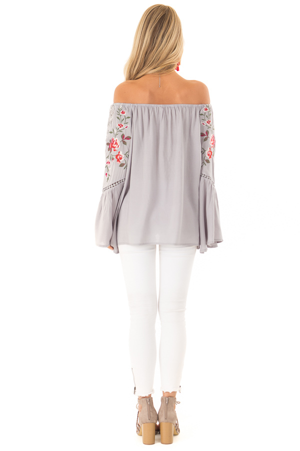 Cool Cement Embroidered Off the Shoulder Top back full body