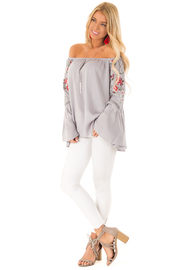 Cool Cement Embroidered Off the Shoulder Top front full body