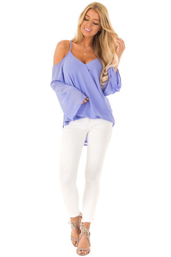 a951832889 Periwinkle Wrap Style Cold Shoulder V Neck Blouse - Lime Lush Boutique
