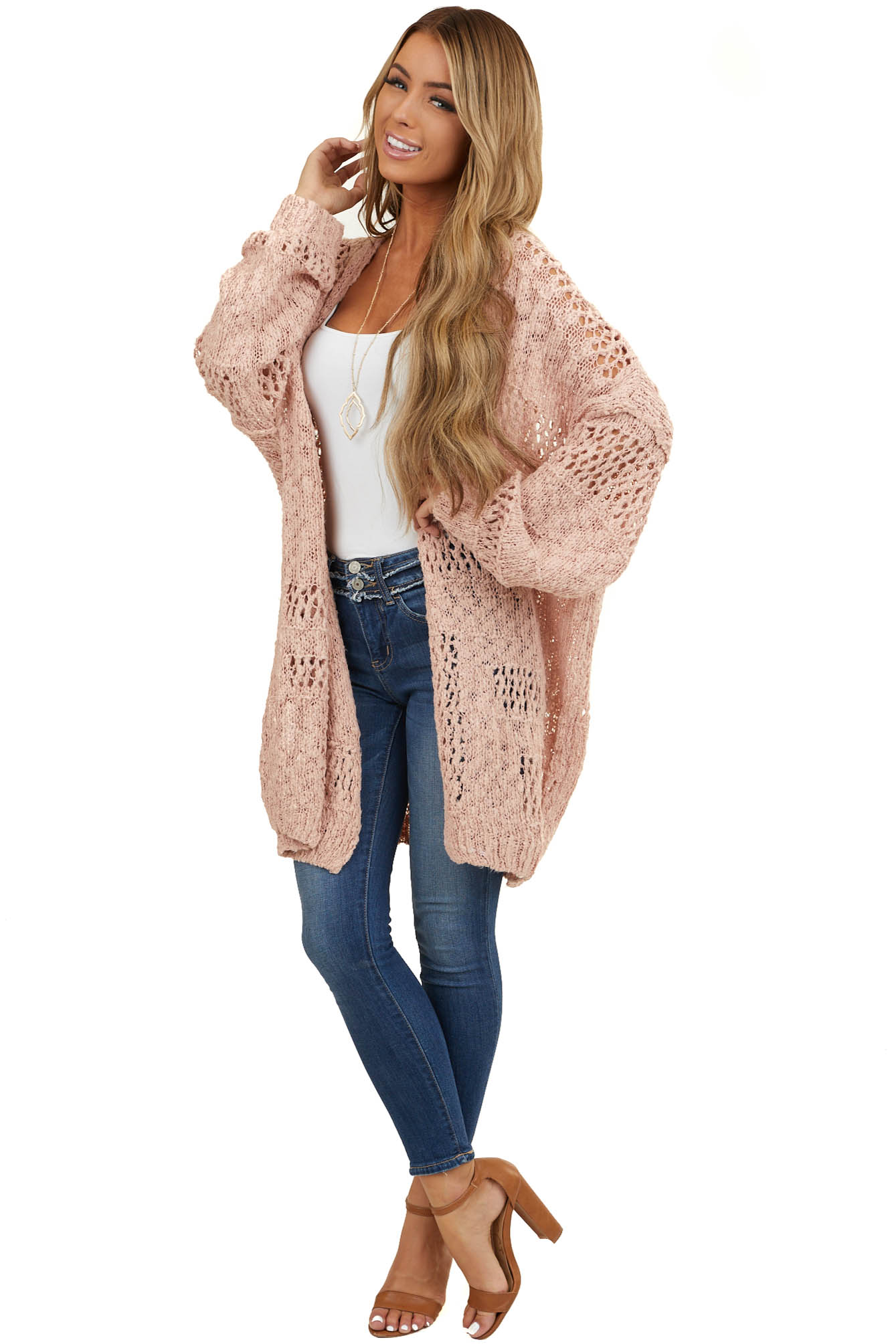 Blush Oversized Knit Open Front Cardigan with Long Sleeves
