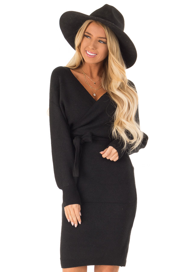 47ddba53994 Black Wrap Style Long Sleeve Sweater Dress with Waist Tie front close up