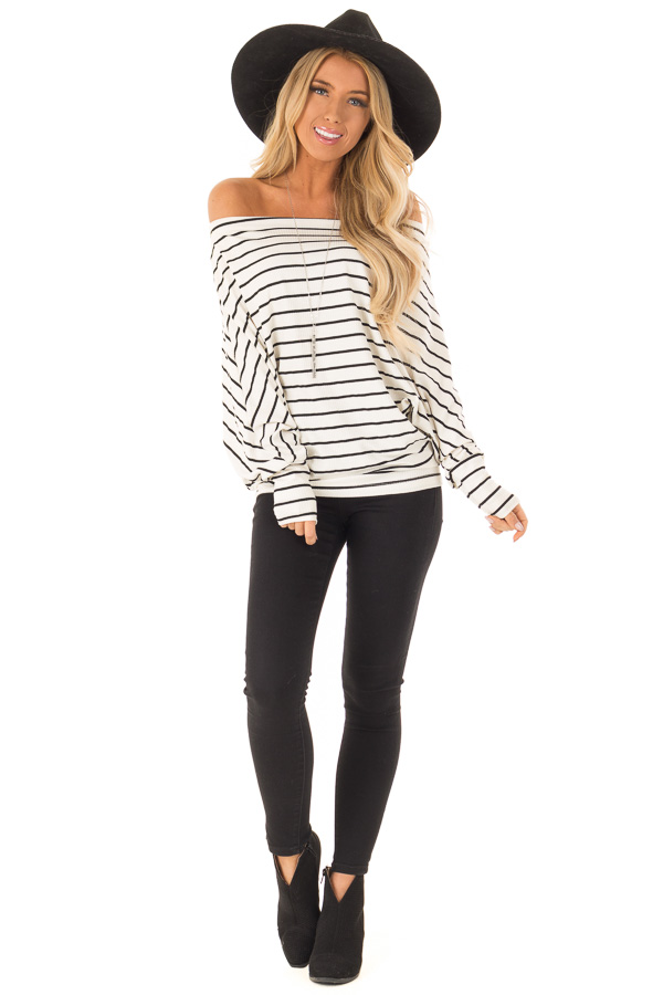 Black and Ivory Striped Off Shoulder Top with Dolman Sleeves front full body