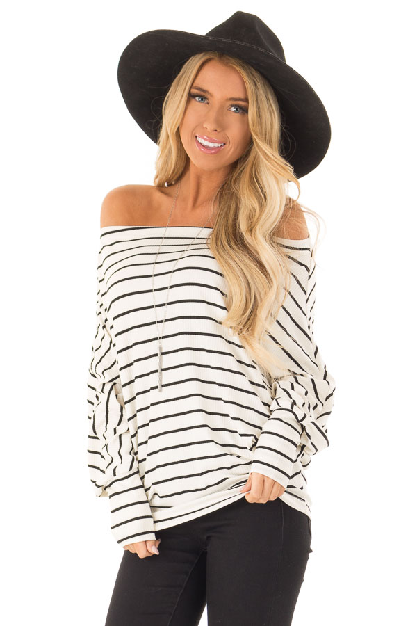 Black and Ivory Striped Off Shoulder Top with Dolman Sleeves front close up