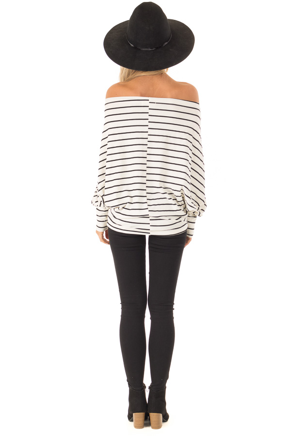 Black and Ivory Striped Off Shoulder Top with Dolman Sleeves back full body