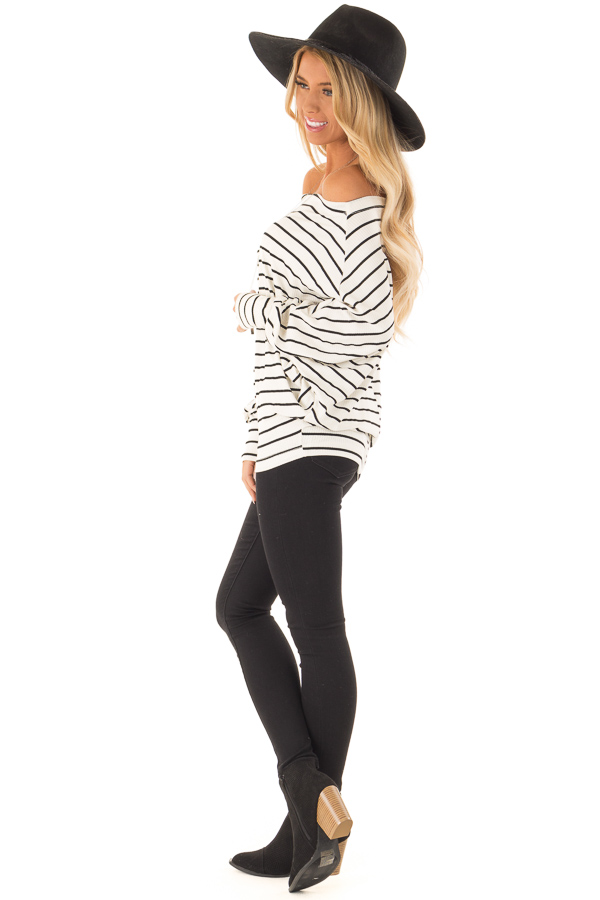 Black and Ivory Striped Off Shoulder Top with Dolman Sleeves side full body
