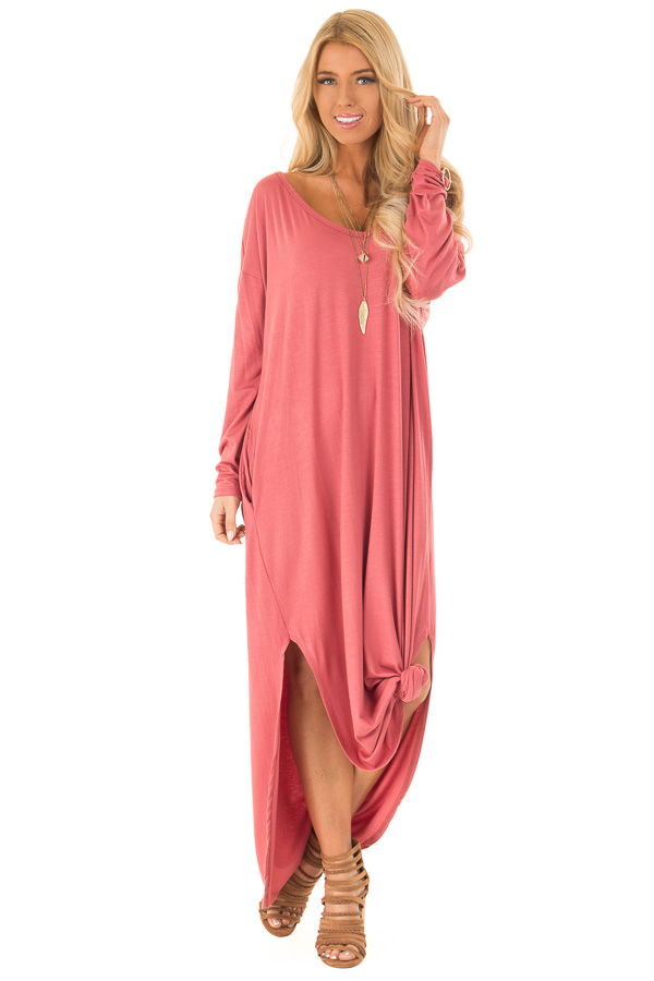 cdc0b120396 ... Mauve Long Sleeve Maxi Dress with Side Pockets front full body ...