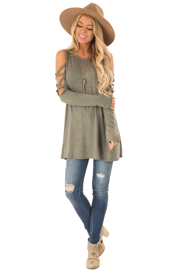 f137e93d457201 ... Olive Green Cold Shoulder Top with Caged Cut Out Sleeves front full  body ...