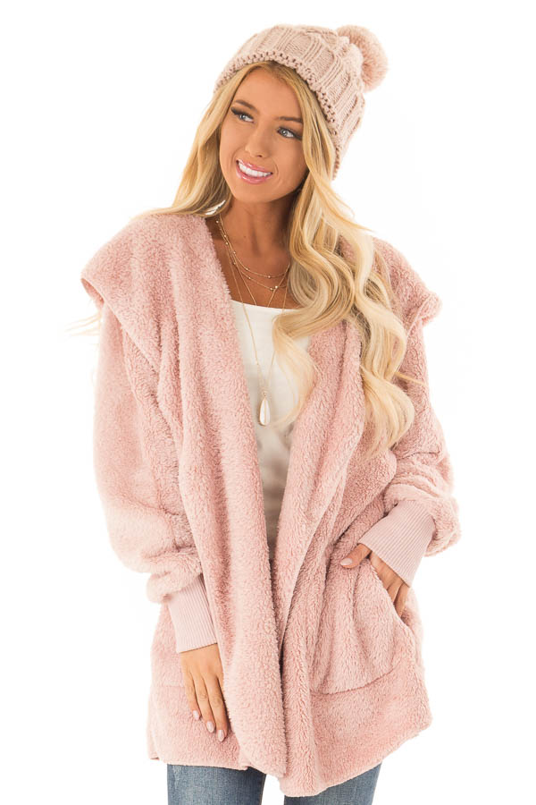 Pastel Pink Fleece Hooded Cardigan with Front Pockets front close up