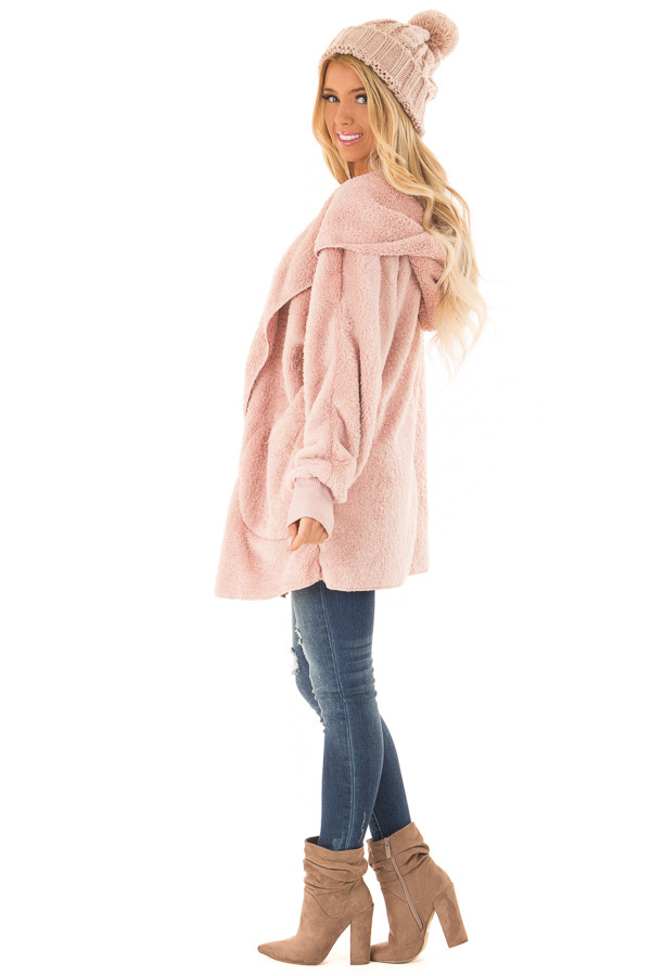 Pastel Pink Fleece Hooded Cardigan with Front Pockets side full body