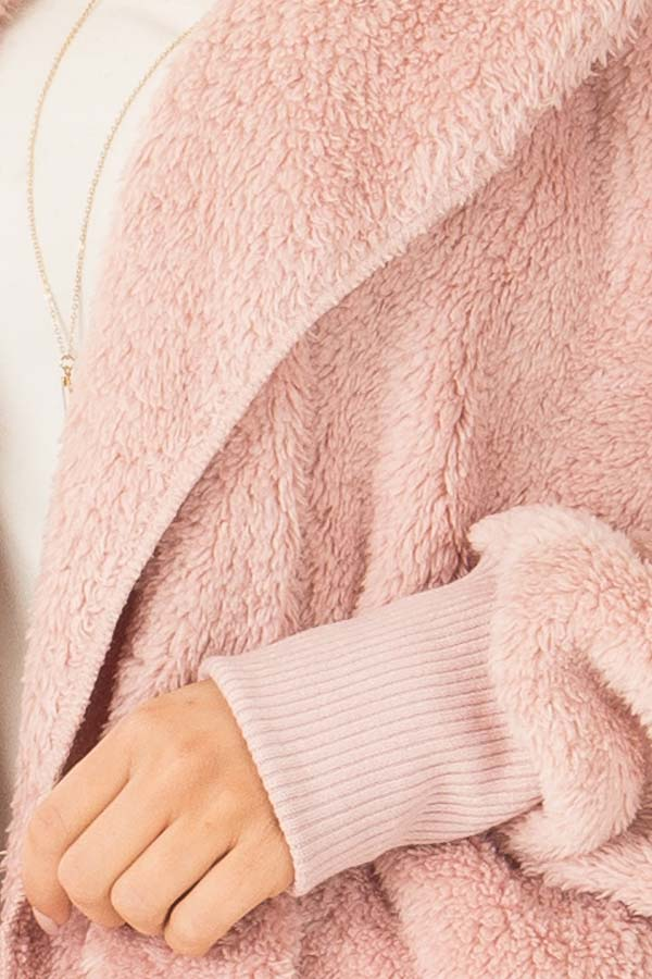 Pastel Pink Fleece Hooded Cardigan with Front Pockets detail