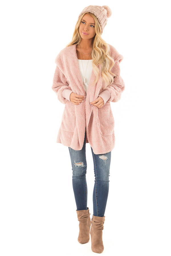 Pastel Pink Fleece Hooded Cardigan with Front Pockets front full body