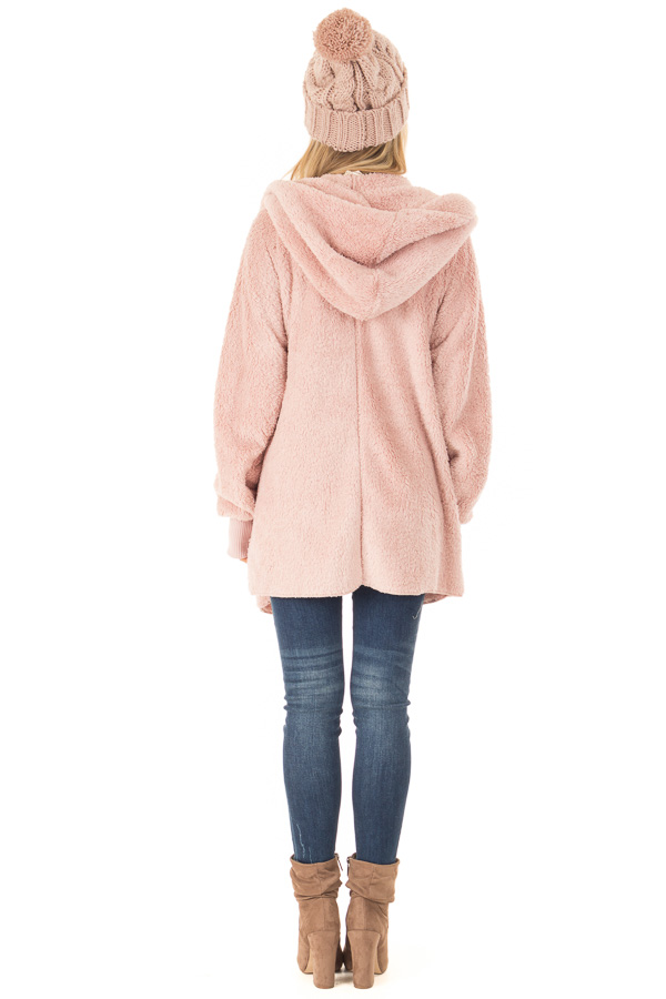 Pastel Pink Fleece Hooded Cardigan with Front Pockets back full body